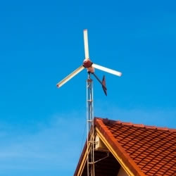 Home roof mounted wind turbine